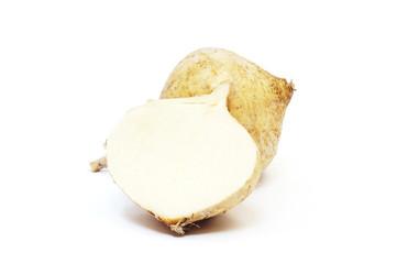 jicama on white background