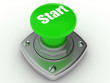 Green START button Isolated High resolution. 3D image