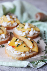 Wheat bread baguette bruschetta