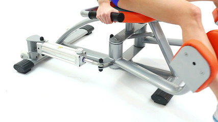 Exercise for legs on isodynamic trainer close-up