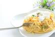 italian cuisine, poached egg on carbonara pasta