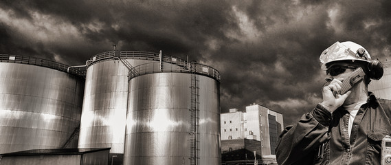 oil and gas refinery, in old grainy vintage processing