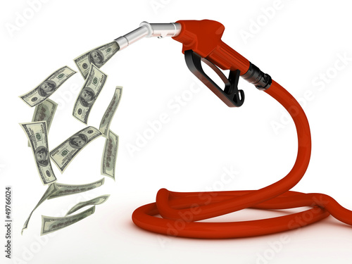 Gas pump nozzle and dollar on white background. 3d