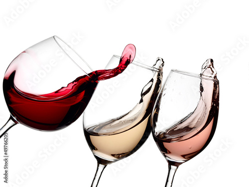 Red, rose and white wine plash