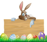Fototapety Bunny character pointing and Easter eggs