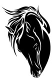 black horse head vector design