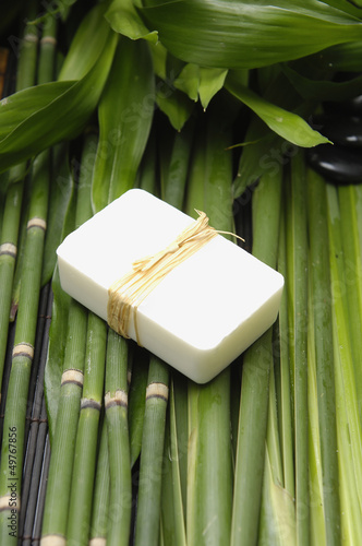 hand made soap on bamboo grove