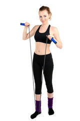 Young woman with skipping rope isolated on white