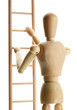 Mannequin on wooden ladder, isolated on  white
