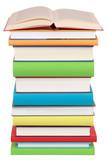 Fototapety Offenes Buch auf einem Stapel mit bunten Büchern