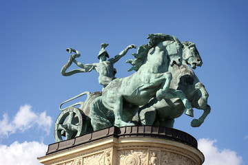Horse statue on Heroes square in Budapest