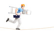 Full length portrait of a repairman running on a rope with a lad