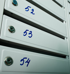 Mailboxes with flat numbers.