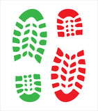 footprint, two shoes - green and red, isolated