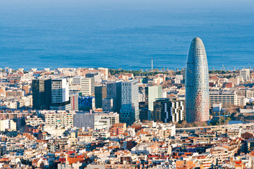 Aerial view of financial district in Barcelona