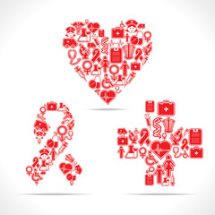 Medical icons make a heart,aids and cross shape stock vector