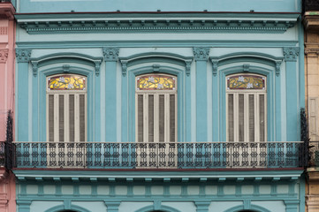 Blue facade of colonial building
