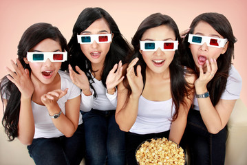 Group of woman watching movie