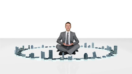 Businessman meditating and slowly rising with city growing