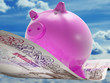 Pounds Note Pig Shows Prosperity And Investment