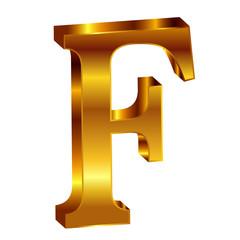 F アルファベット エンブレム 金
