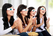 Group of girls watching good 3D movie