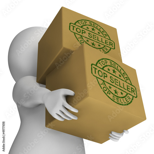 Top Seller Stamp On Boxes Showing Best Products