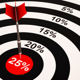 25 Percent On Dartboard Shows Selected Discounts