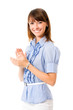 Happy clapping businesswoman, isolated