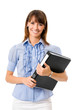 Businesswoman with black folder, isolated