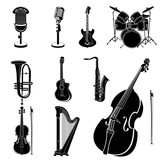 music instruments black & white set