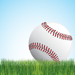 American baseball ,grass and sky background