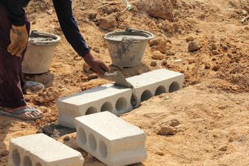 Construction. Bricks laying