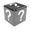 Black dice with question mark sign