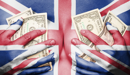 Sweaty girl covered her breast with money, flag of the UK