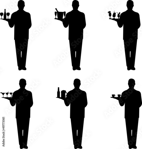 Beautiful young waiter standing and holding a round tray