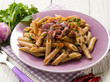 pasta with onions parsley and hot chili pepper