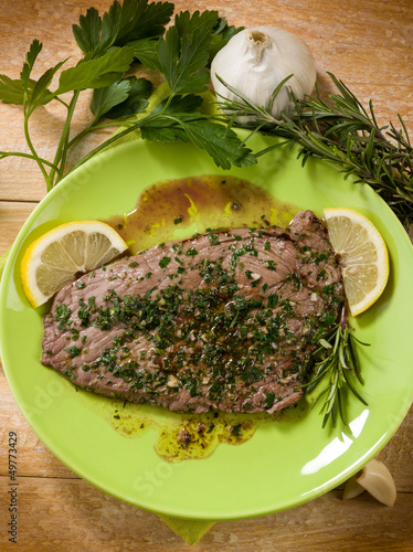 beef steack with garlic and mixed herbs