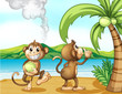 Two monkeys at the beach