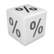White  dice with percent symbol