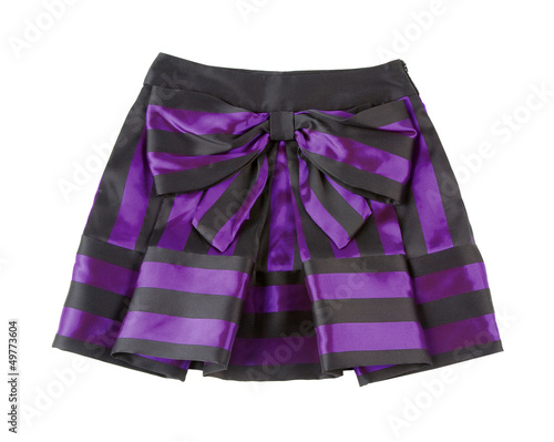 Satin striped pleated purple mini skirt