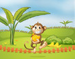 A monkey running away with bananas