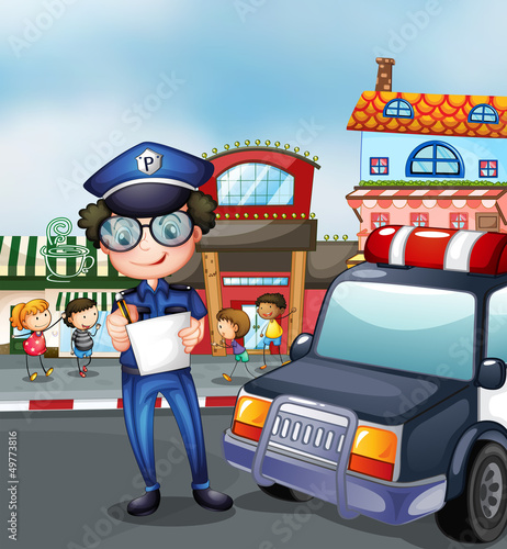 A policeman at a busy street