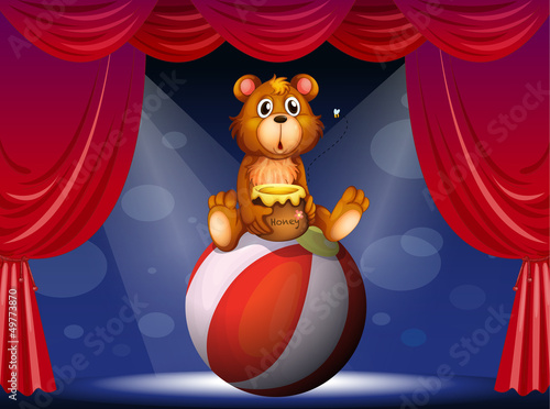 Deurstickers Beren A circus show with a bear