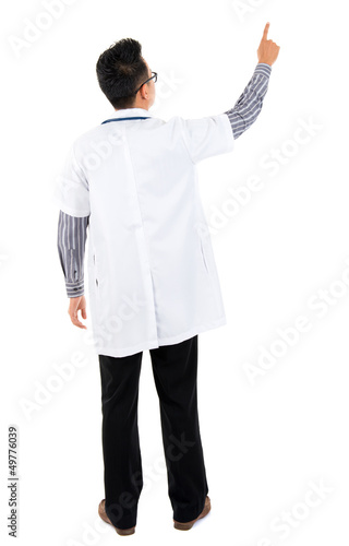 Rear view of Asian medical doctor