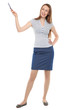 Young businesswoman pointing up