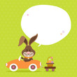 Bunny Car Basket Speech Bubble Green Dots