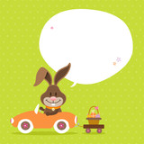Bunny Car Basket Speech Bubble Green Dots