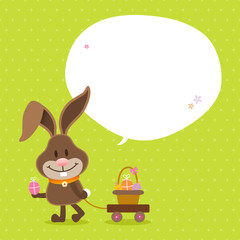Bunny Handcart Basket Speech Bubble Green Dots
