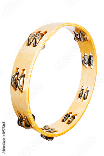 Wooden Tambourine Isolated on a White Background